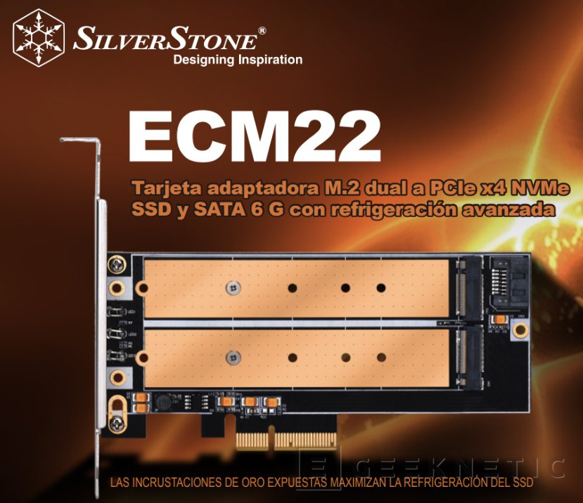 Tarjeta de expansión SilverStone ECM22 para dos SSD M.2, Imagen 1