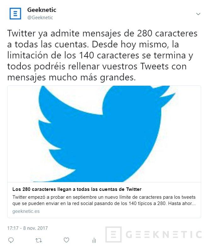 Los 280 caracteres llegan a todas las cuentas de Twitter, Imagen 1