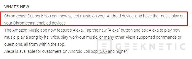Amazon Music ya soporta Chromecast, Imagen 1