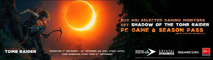 MSI regala el juego Shadow of the Tomb Raider por la compra de varios de sus monitores gaming, Imagen 1
