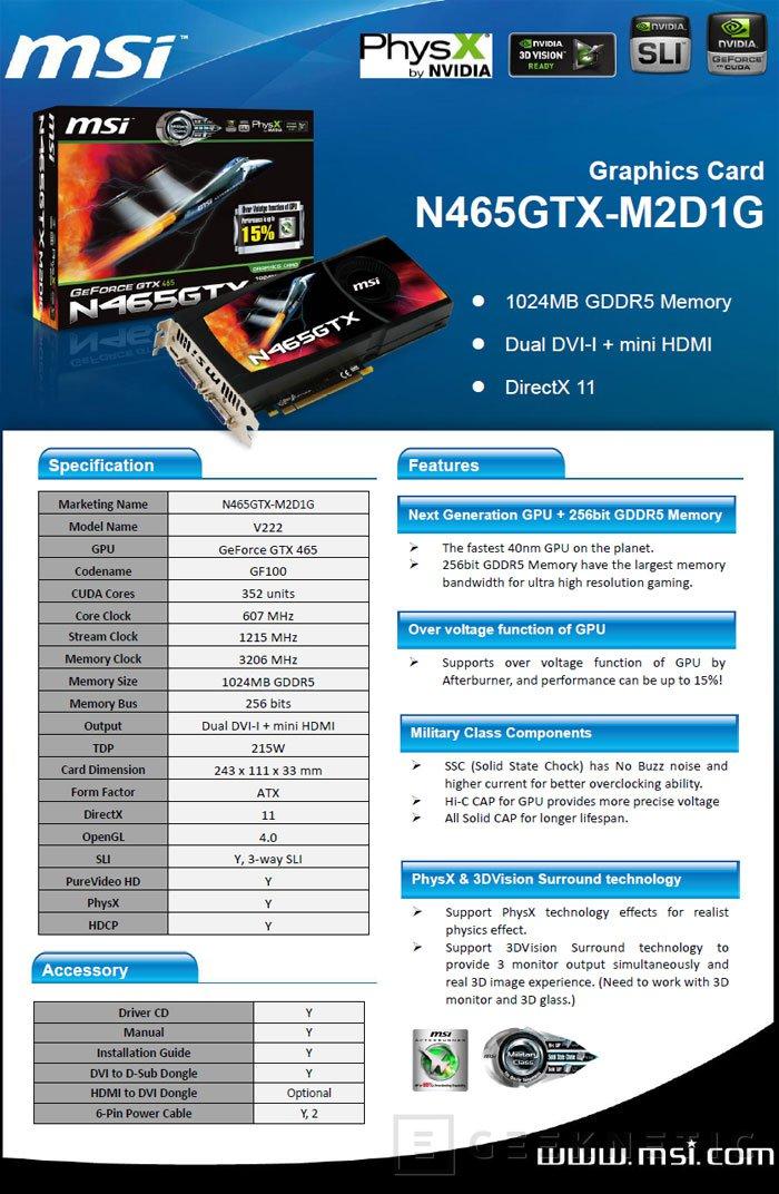 MSI presenta su nueva GTX 465, Imagen 2