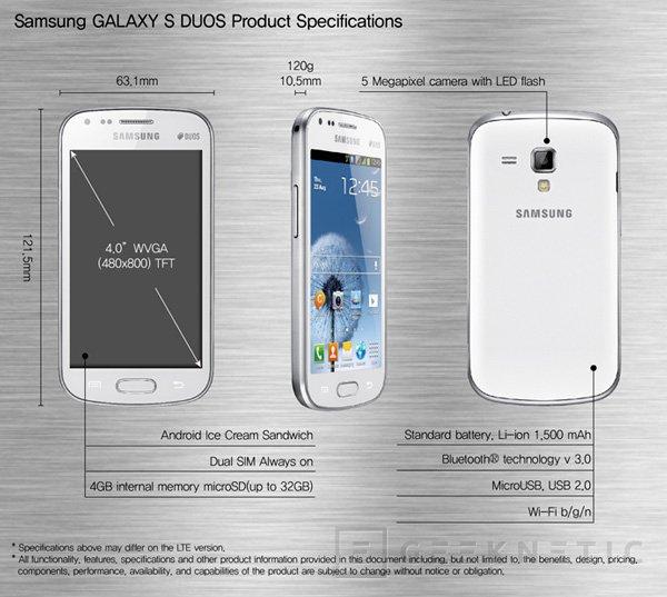 Samsung Galaxy S Duos. Teléfono con soporte para doble SIM, Imagen 2