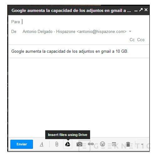 Google aumenta la capacidad de los adjuntos en gmail a 10 GB, Imagen 1