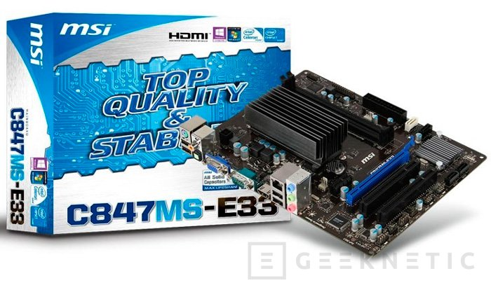MSI C847MS-E33, placa Micro-ATX con procesador integrado, Imagen 1