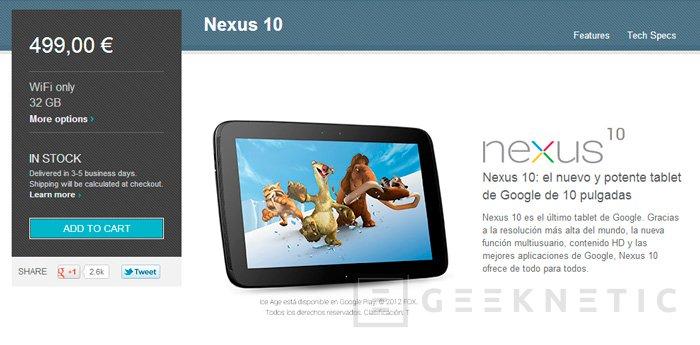 El tablet Nexus 10 de Google vuelve a estar a la venta, Imagen 1