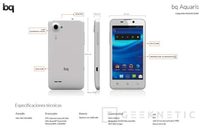 BQ lanza Aquaris, un smartphone de bajo coste, Imagen 1