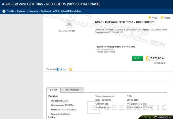 Aparece listada una ASUS GeForce GTX Titan en una tienda online, Imagen 2