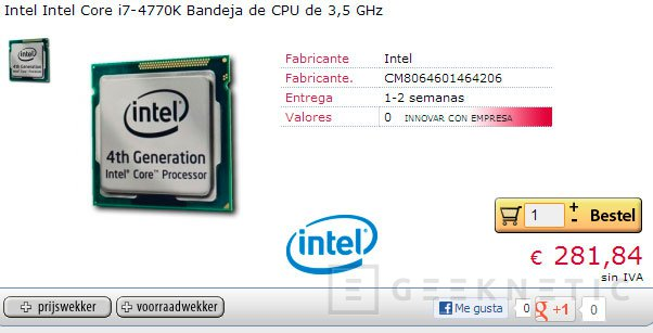 El Intel Core i7-4770K aparece listado en tiendas online por unos 340 Euros, Imagen 1