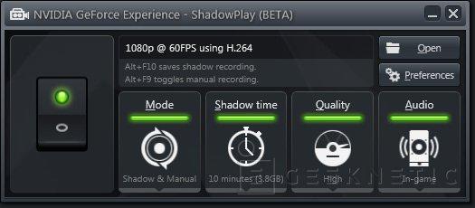 NVIDIA ShadowPlay, sistema de grabación de gameplays integrado, Imagen 1