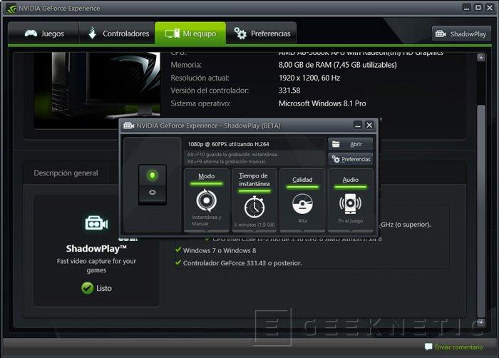 NVIDIA lanza la beta pública de su sistema de grabación de gameplays ShadowPlay, Imagen 1