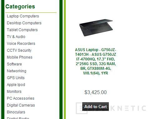 Aparece la NVIDIA GeForce GTX 880M en las especificaciones del ASUS G750JZ, Imagen 1