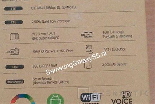 Filtradas las especificaciones del Samsung Galaxy S5, Imagen 1