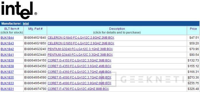 Filtrados los precios de los nuevos procesadores de la familia Intel Haswell, Imagen 1