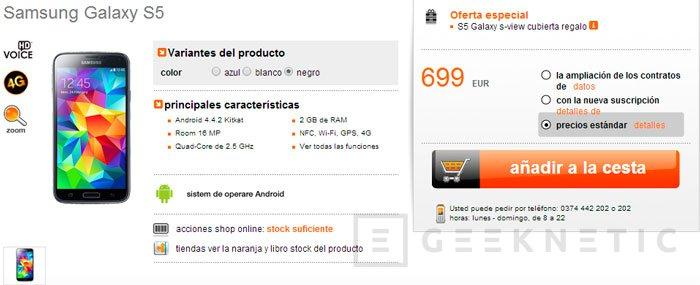 El Samsung Galaxy S5 ya se puede reservar en Europa por 699 Euros, Imagen 1