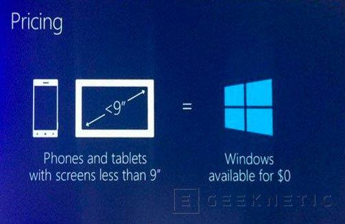 Microsoft ofrecerá Windows de manera gratuita en cualquier dispositivo de menos de 9 pulgadas, Imagen 1