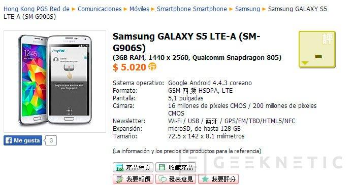 Aparece listado un Samsung Galaxy S5 con pantalla WQHD y procesador Snapdragon 805, Imagen 1