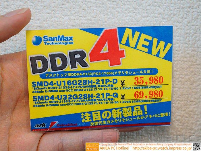 Aparecen los primeros módulos DDR4 a la venta, Imagen 1
