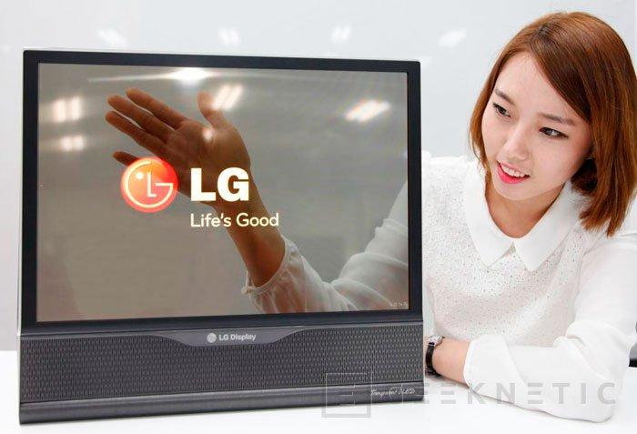 LG muestra un panel de 18 pulgadas flexible y transparente, Imagen 2
