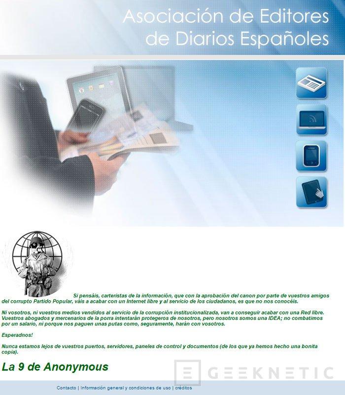 Anonymous hackea la web de la AEDE , Imagen 1