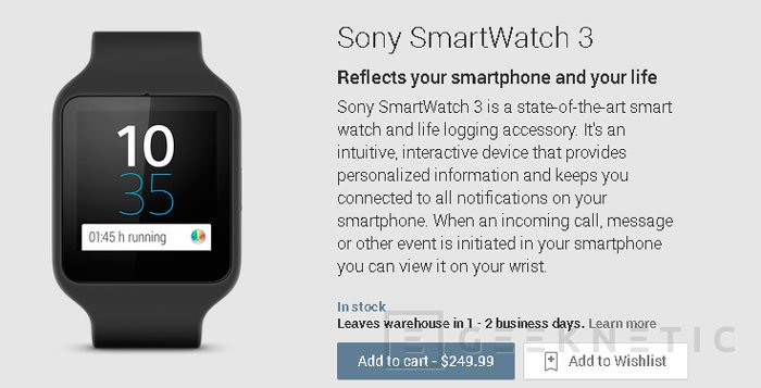El Sony SmartWatch 3 llega a Google Play por 250 Dólares, Imagen 2