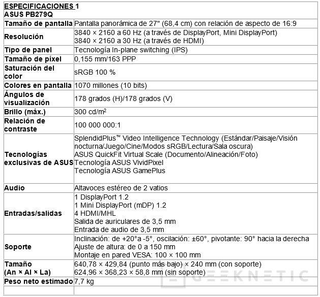 Llega a España el monitor 4K ASUS PB279Q con panel IPS, Imagen 2
