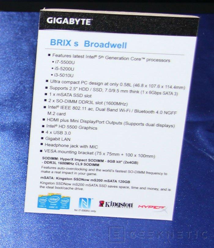 Gigabyte añade los nuevos Intel Core de 5ª generación a sus mini PC Brix S, Imagen 3