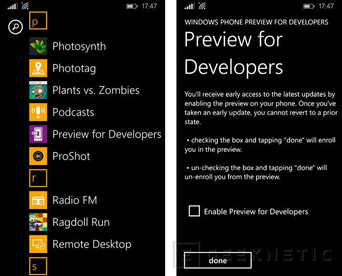 Activar el acceso vía OTA a las Preview for Developers de Windows Phone, Imagen 2