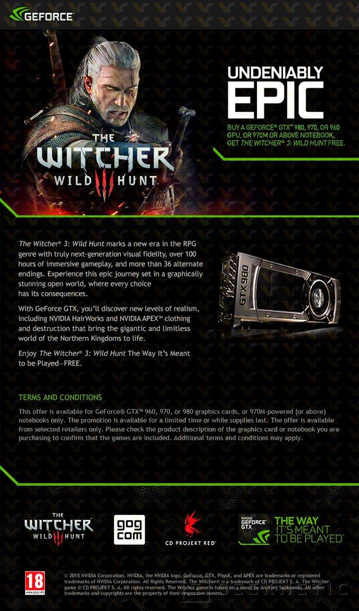 NVIDIA regalará el juego The Witcher 3 con sus GTX 900, Imagen 1
