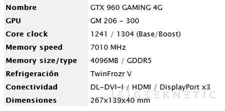 MSI ya tiene su propia GeForce GTX 960 con 4 GB de memoria, Imagen 2