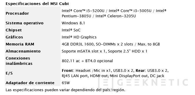 MSI Cubi, un PC de sobremesa reducido a la mínima expresión, Imagen 3