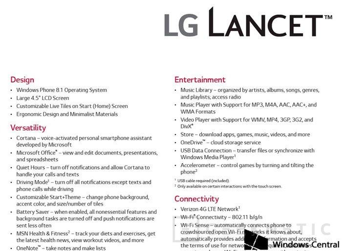 LG vuelve a Windows Phone con su LG Lancet, Imagen 3