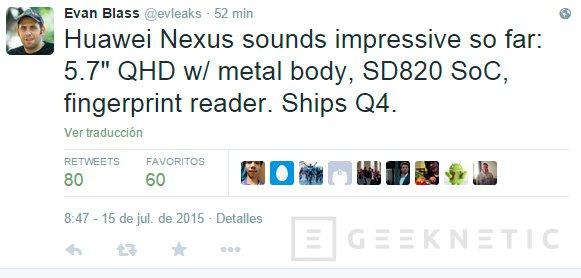 Nuevos rumores apuntan a un Nexus fabricado por Huawei con un Snapdragon 820, Imagen 1
