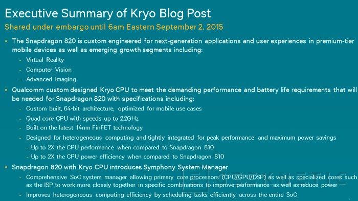 Qualcomm desvela los detalles de su Snapdragon 820 con arquitectura Kryo y HSA, Imagen 1