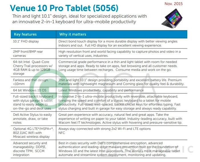 Dell prepara su tablet Venue Pro 10 con Windows 10, Imagen 2