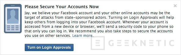 Facebook avisará a los usuarios que estén siendo espiados por el Gobierno, Imagen 1