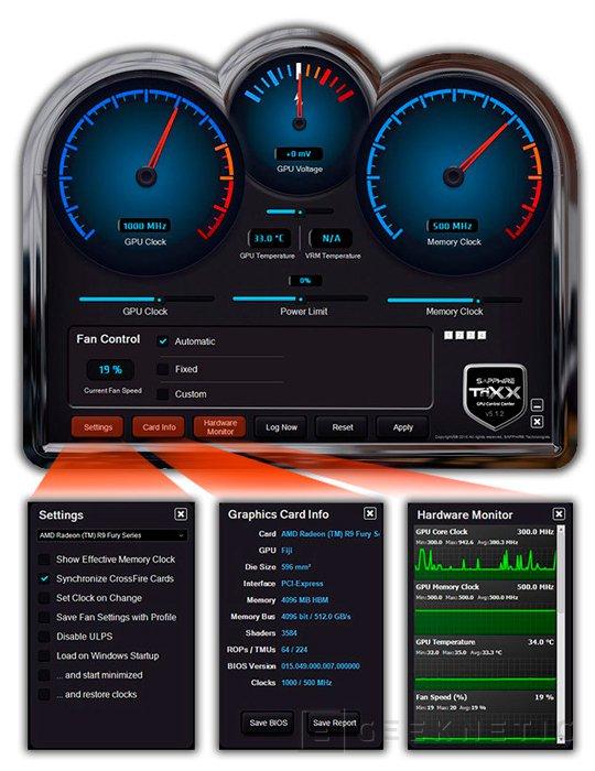 Sapphire lanza el software TriXX para realizar overclock a las Radeon Fury con HBM, Imagen 1