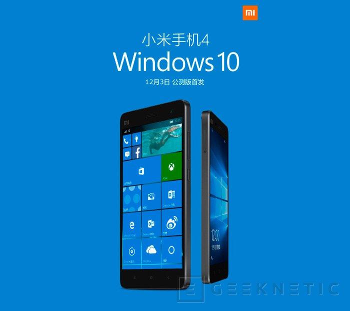 Xiaomi lanzará una ROM de Windows 10 para su Mi 4 esta semana, Imagen 1