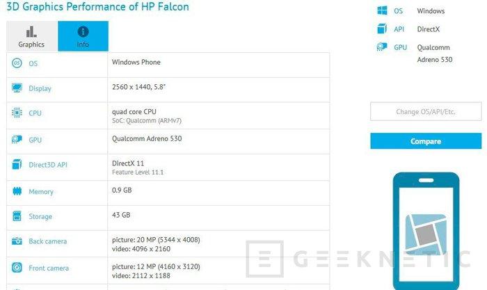Según las últimas filtraciones, el HP Falcon será un smartphone de gama alta con Windows 10, Imagen 1